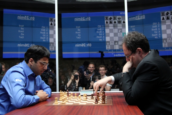 Anand and Boris Gelfand,  2012 World Chess Championship, Photo Courtesy Official Website http://moscow2012.fide.com