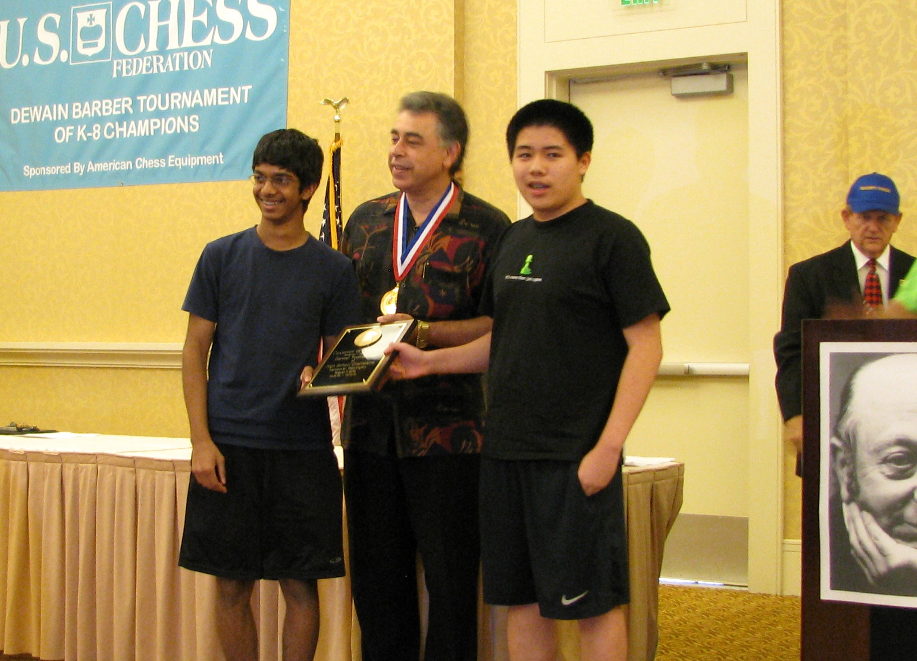 Atulya Shetty, GM Yasser Seirawan and Darwin Yang (l-r)
