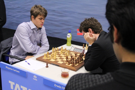 Carlsen, Magnus vs. L'Ami, Erwin, Day 10, 2013 Tata Steel Chess Tournament, Photo Courtesy Official Website www.tatasteelchess.com