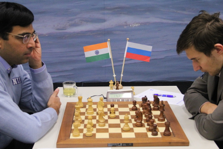 Anand,  vs. Karjakin, Day 10, 2013 Tata Steel Chess Tournament, Photo Courtesy Official Website www.tatasteelchess.com