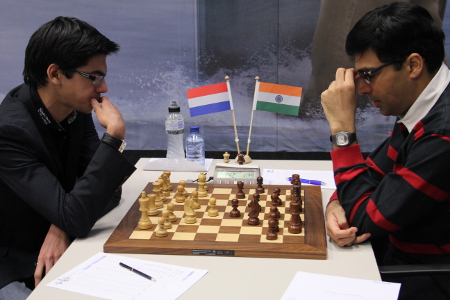 Giri vs. Anand, Day 2, 2013 Tata Steel Chess Tournament, Photo Courtesy Official Website www.tatasteelchess.com