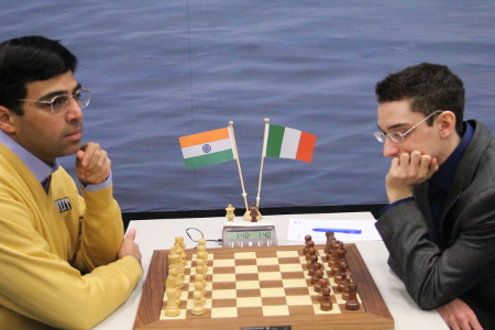 Anand vs. Caruana, Day 3, 2013 Tata Steel Chess Tournament, Photo Courtesy Official Website www.tatasteelchess.com