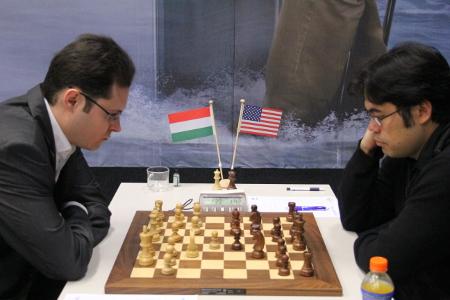 Leko vs. Nakamura, Day 3, 2013 Tata Steel Chess Tournament, Photo Courtesy Official Website www.tatasteelchess.com