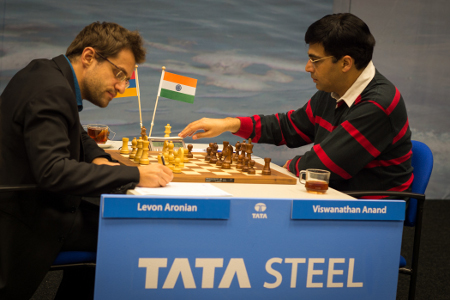 Aronian vs. Anand, Day 4, 2013 Tata Steel Chess Tournament, Photo Courtesy Official Website www.tatasteelchess.com