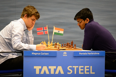 Carlsen vs. Harikrishna, Day 4, 2013 Tata Steel Chess Tournament, Photo Courtesy Official Website www.tatasteelchess.com