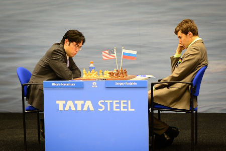 Nakamura vs. Karjakin, Day 4, 2013 Tata Steel Chess Tournament, Photo Courtesy Official Website www.tatasteelchess.com