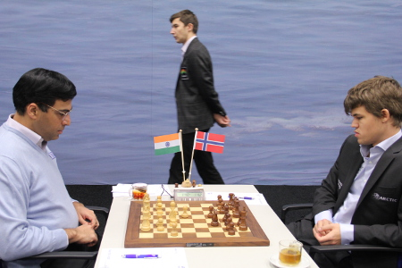 Anand vs Carlsen, Day 5, 2013 Tata Steel Chess Tournament, Photo Courtesy Official Website www.tatasteelchess.com