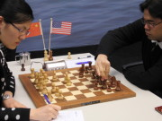 Hou Yifan vs. Hikaru Nakamura, Day 5, 2013 Tata Steel Chess Tournament, Photo Courtesy Official Website www.tatasteelchess.com