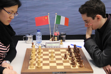 Hou Yifan vs. Caruana, Day 7, 2013 Tata Steel Chess Tournament, Photo Courtesy Official Website www.tatasteelchess.com