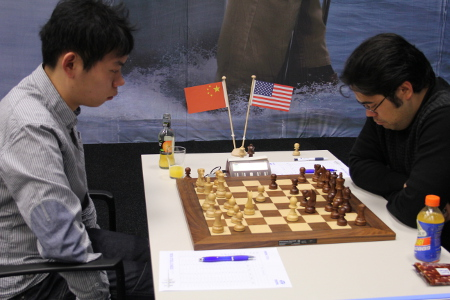 Wang Hao vs. Hikaru Nakamura, Day 5, 2013 Tata Steel Chess Tournament, Photo Courtesy Official Website www.tatasteelchess.com