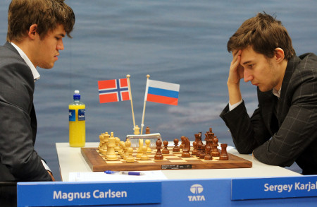 Magnus Carlsen vs. Sergey Karjakin, Day 8, 2013 Tata Steel Chess Tournament, Photo Courtesy Official Website www.tatasteelchess.com