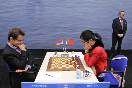 Aronian vs. Hou Yifan, Day 8, 2013 Tata Steel Chess Tournament, Photo Courtesy Official Website www.tatasteelchess.com