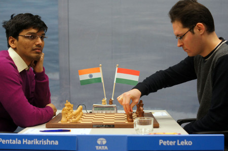 Harikrishna vs. Leko, Day 8, 2013 Tata Steel Chess Tournament, Photo Courtesy Official Website www.tatasteelchess.com