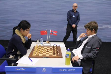 Hou Yifan vs. Magnus Carlsen, Day 9, 2013 Tata Steel Chess Tournament, Photo Courtesy Official Website www.tatasteelchess.com