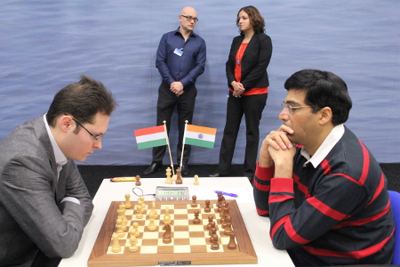 Leko vs. Anand, Day 9, 2013 Tata Steel Chess Tournament, Photo Courtesy Official Website www.tatasteelchess.com