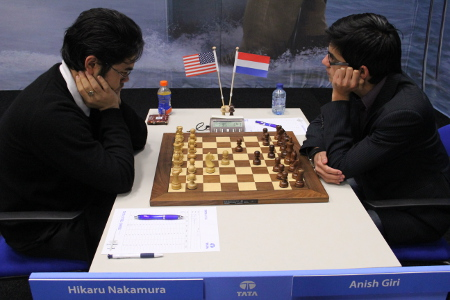 Hikaru Nakamura vs. Anish Giri, Day 9, 2013 Tata Steel Chess Tournament, Photo Courtesy Official Website www.tatasteelchess.com
