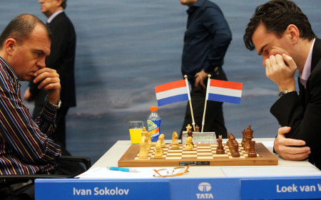 Ivan Sokolov vs. Loek van Wely, Day 9, 2013 Tata Steel Chess Tournament, Photo Courtesy Official Website www.tatasteelchess.com