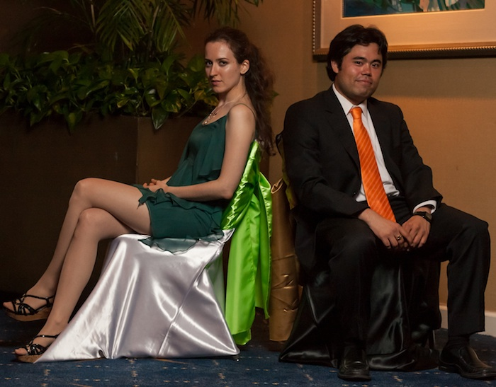 2012 U.S. Women's Champion IM Irina Krush and 2012 U.S. Champion GM Hikaru Nakamura. Photo Courtesy Saint Louis Chess Club