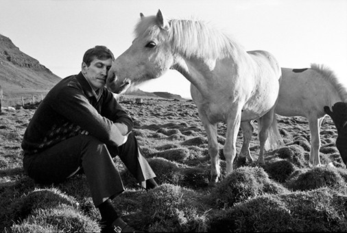 Bobby kissed by a horse, Iceland 1972, Photograph by Harry Benson CBE, World Chess Hall of Fame Exhibit