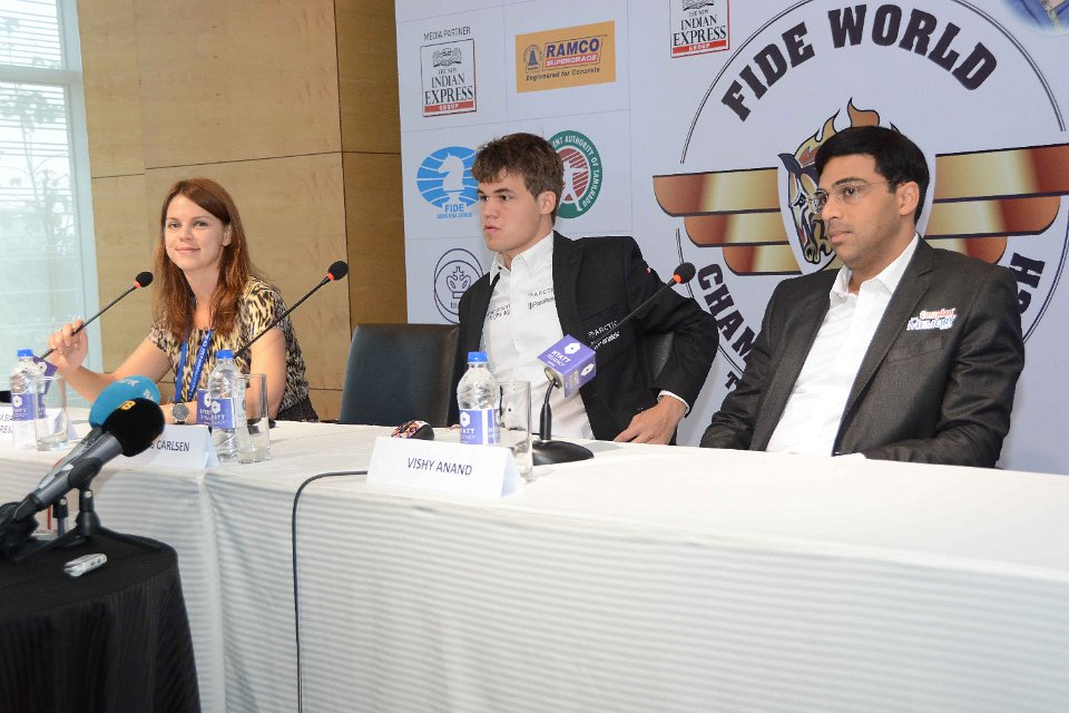 Carlsen and Anand Press Conference FIDE WCM; Photo Courtesy of FIDE.